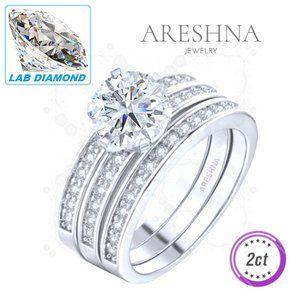 3Pcs 2ct Lab Diamond Round Cut Engagement Ring